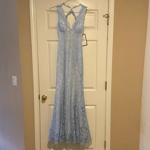 lace mermaid style prom dress with sparkles